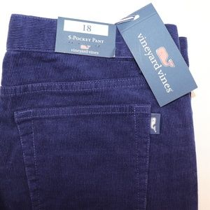 VINEYARD VINES Size 18 Boys Navy 5 Pocket Cords